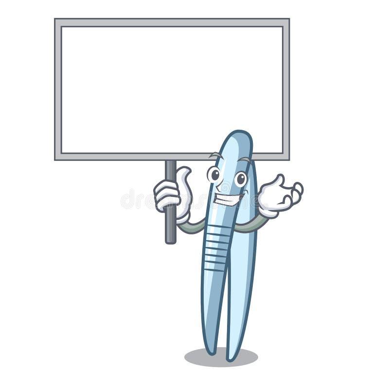 Traiga el estilo de la historieta del carácter de las pinzas del tablero stock de ilustración