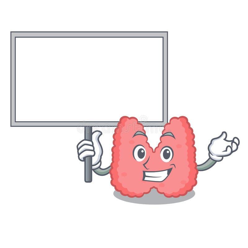 Traiga el estilo de la historieta del carácter de la tiroides del tablero stock de ilustración