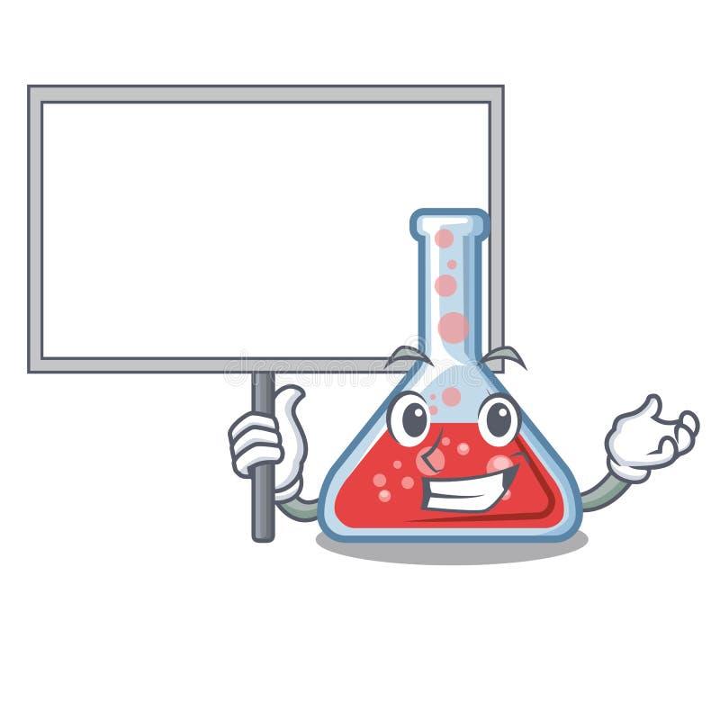 Traiga el frasco de erlenmeyer del tablero aislado en la mascota stock de ilustración