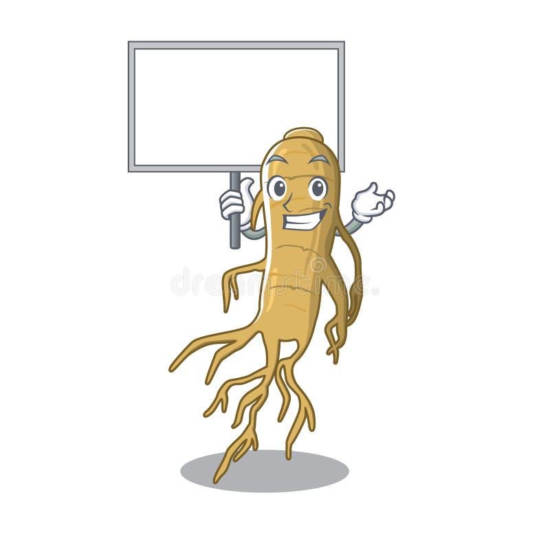 Traiga el ginseng del tablero aislado con en la historieta stock de ilustración
