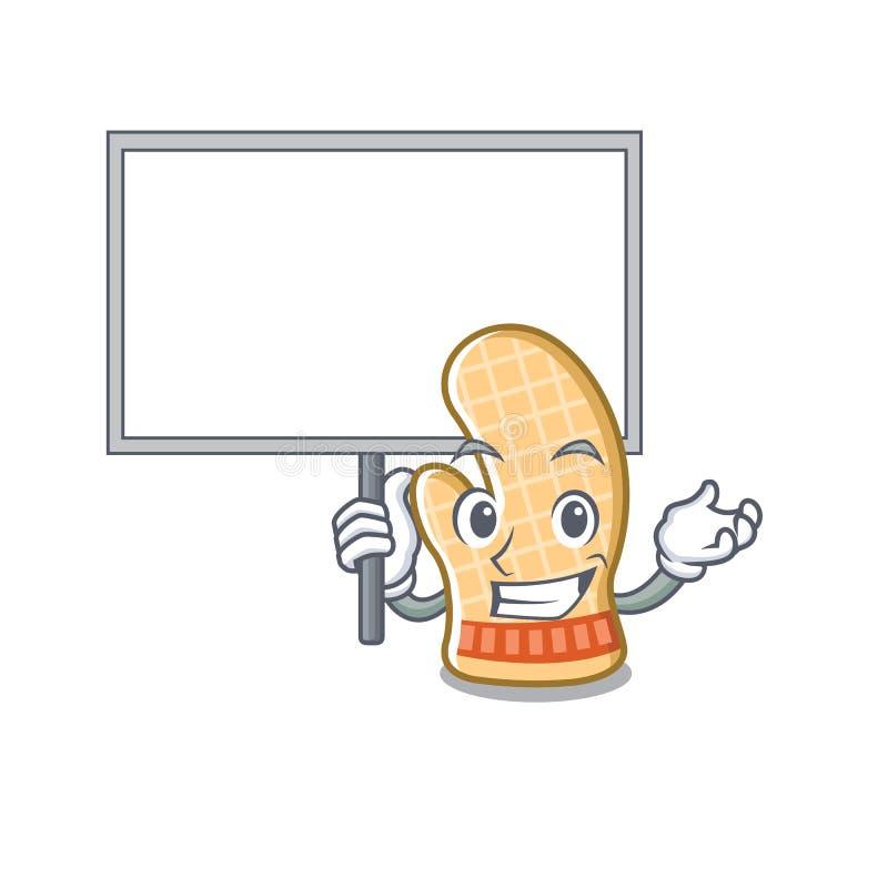 Traiga el guante del horno del tablero con la forma de la historieta stock de ilustración