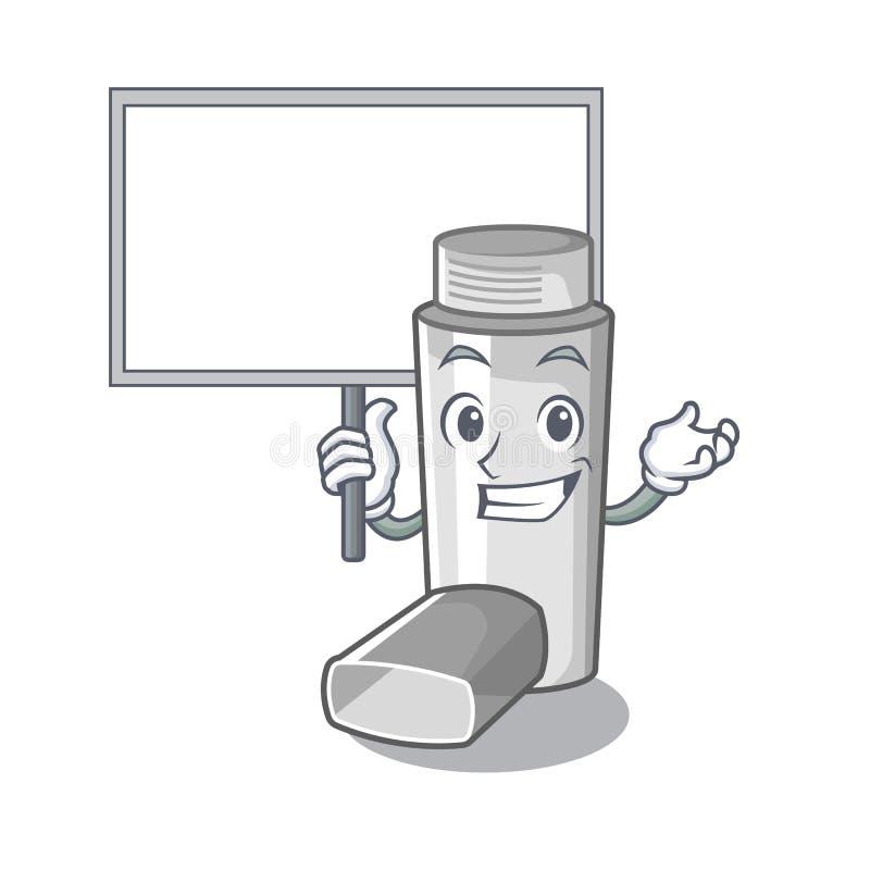 Traiga el inhalador del asma del tablero en la forma de la historieta libre illustration