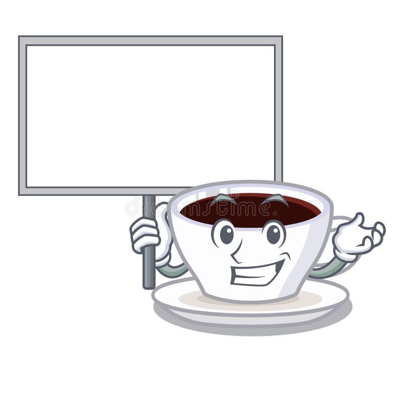 Traiga el macchiato del latte del tablero aislado con la mascota libre illustration