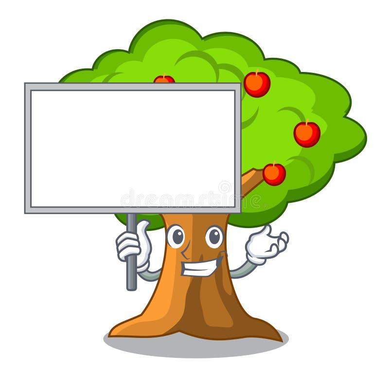Traiga el manzanar del tablero con la cesta de historieta stock de ilustración