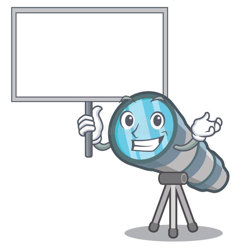 Traiga el telescopio del tablero aislado con en la mascota stock de ilustración