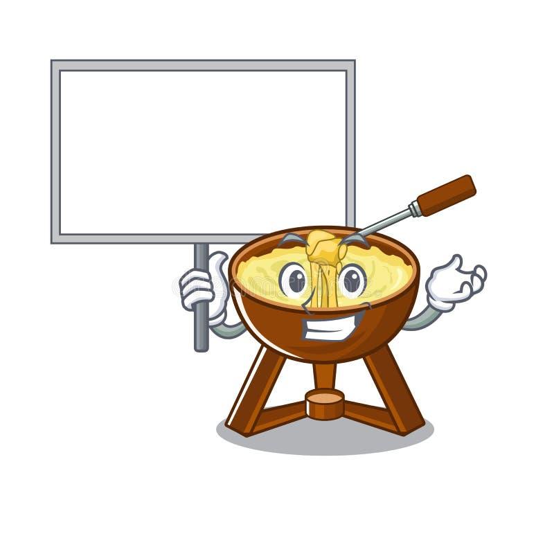 Traiga la 'fondue' de queso del tablero aislada en el carácter libre illustration