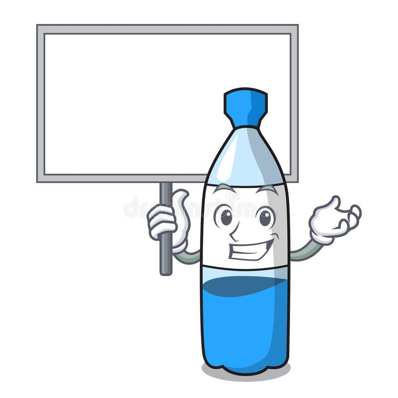 Traiga la historieta del carácter de la botella de agua del tablero ilustración del vector