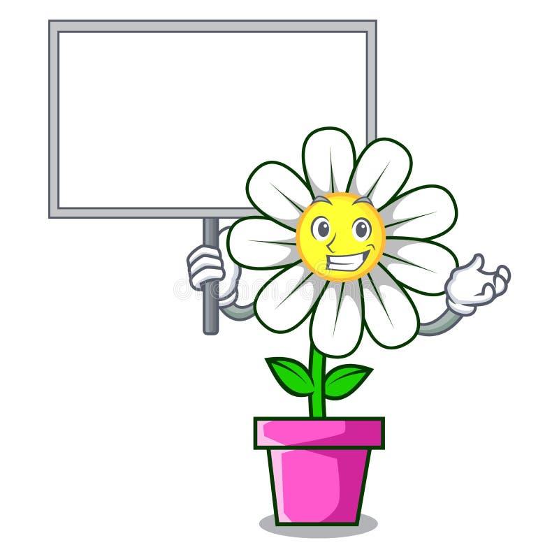 Traiga la historieta del carácter de la flor de la margarita del tablero libre illustration