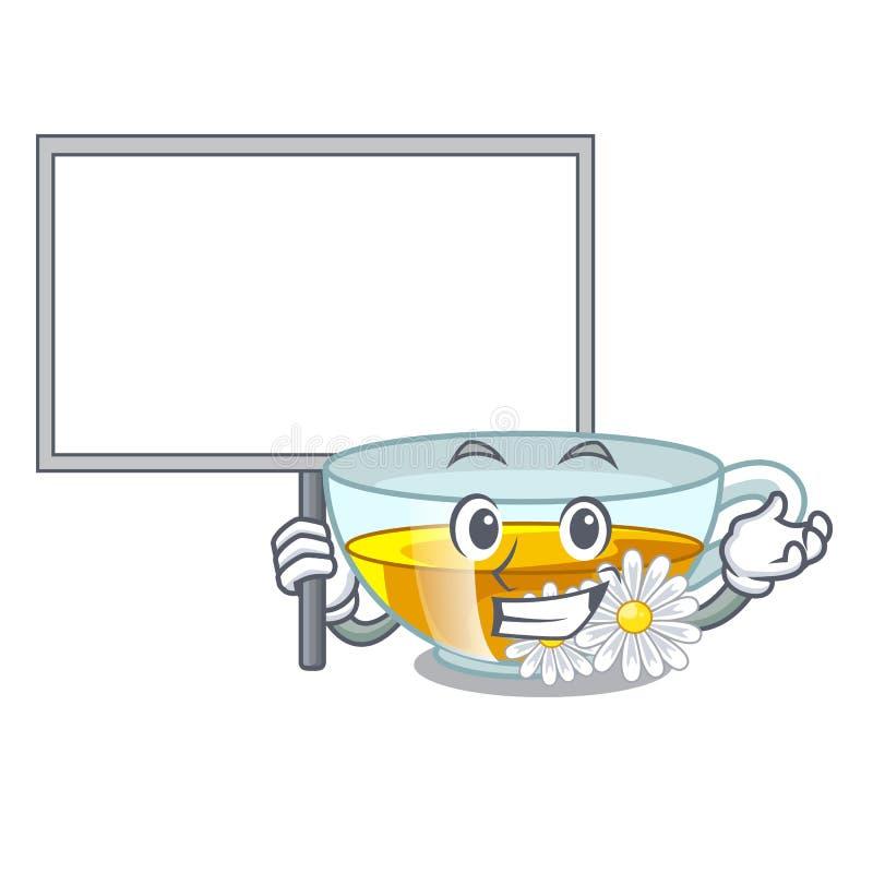 Traiga la historieta del té de manzanilla de la taza del tablero sobre la tabla ilustración del vector