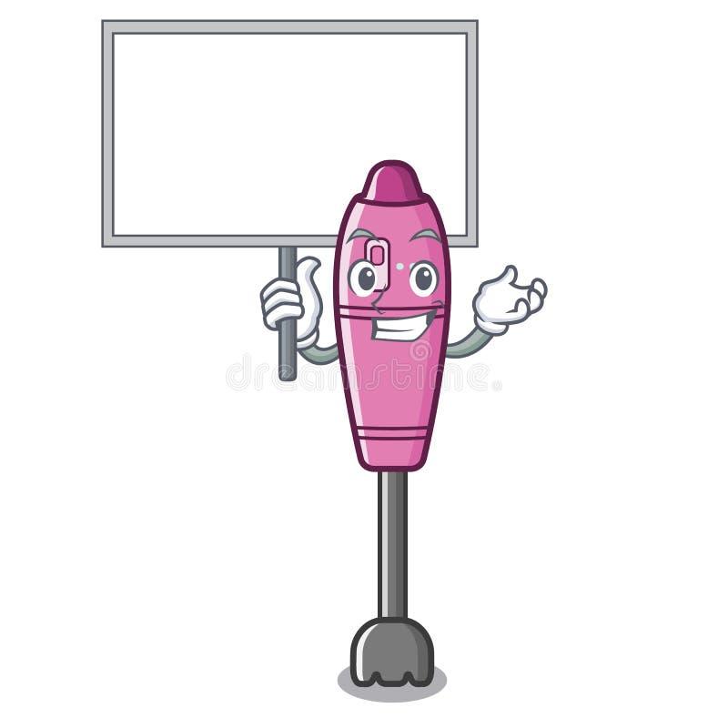 Traiga la licuadora de la mascota de la inmersión del tablero en la tabla de cocina ilustración del vector