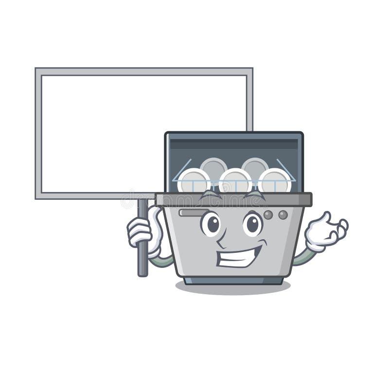 Traiga la máquina del lavaplatos de la mascota del tablero en la cocina stock de ilustración