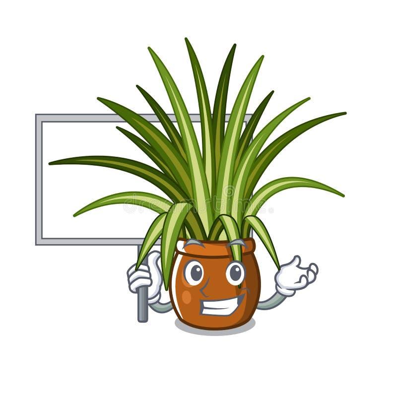 Traiga la planta de araña del tablero en la forma de carácter ilustración del vector