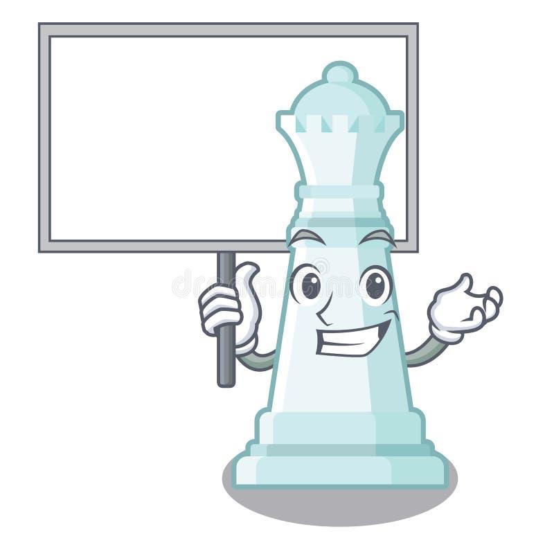 Traiga a la reina del ajedrez del tablero aislada en el carácter ilustración del vector