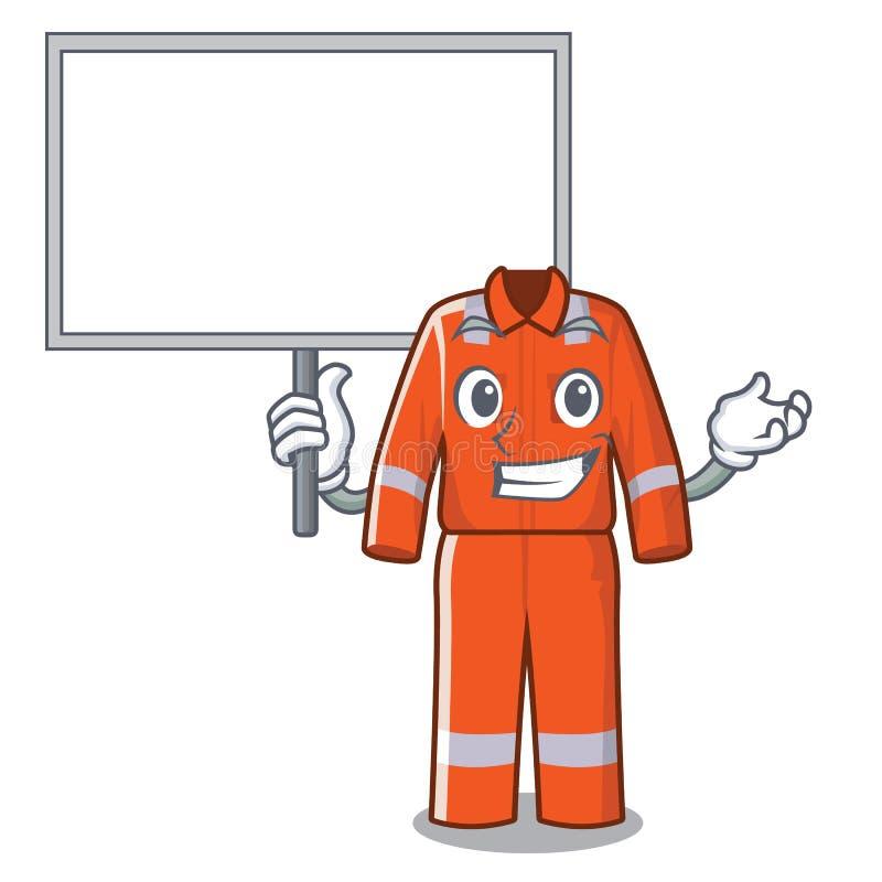 Traiga los guardapolvos de trabajo del tablero en la forma de la historieta ilustración del vector