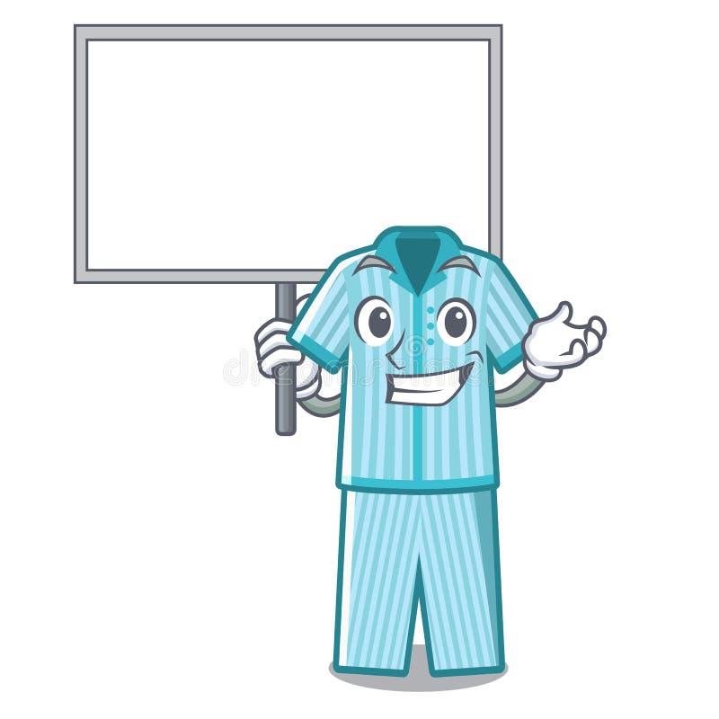 Traiga los pijamas del tablero aislados encendido en el carácter stock de ilustración