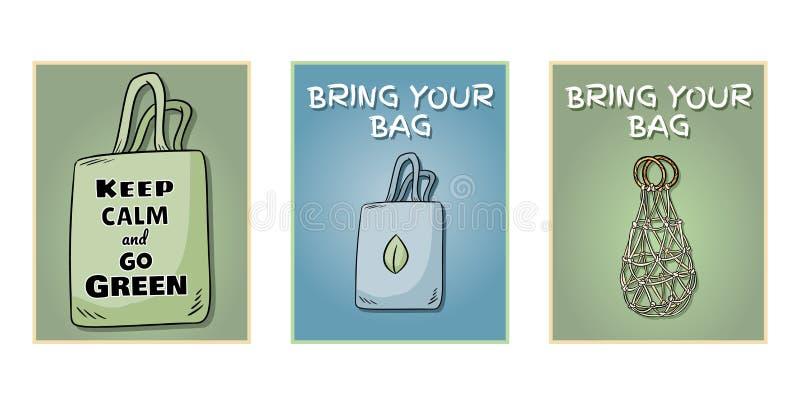 Traiga a su propio bolso cada sistema del día de carteles Frase de motivaci?n Producto ecol?gico y de la cero-basura Va la vida v ilustración del vector