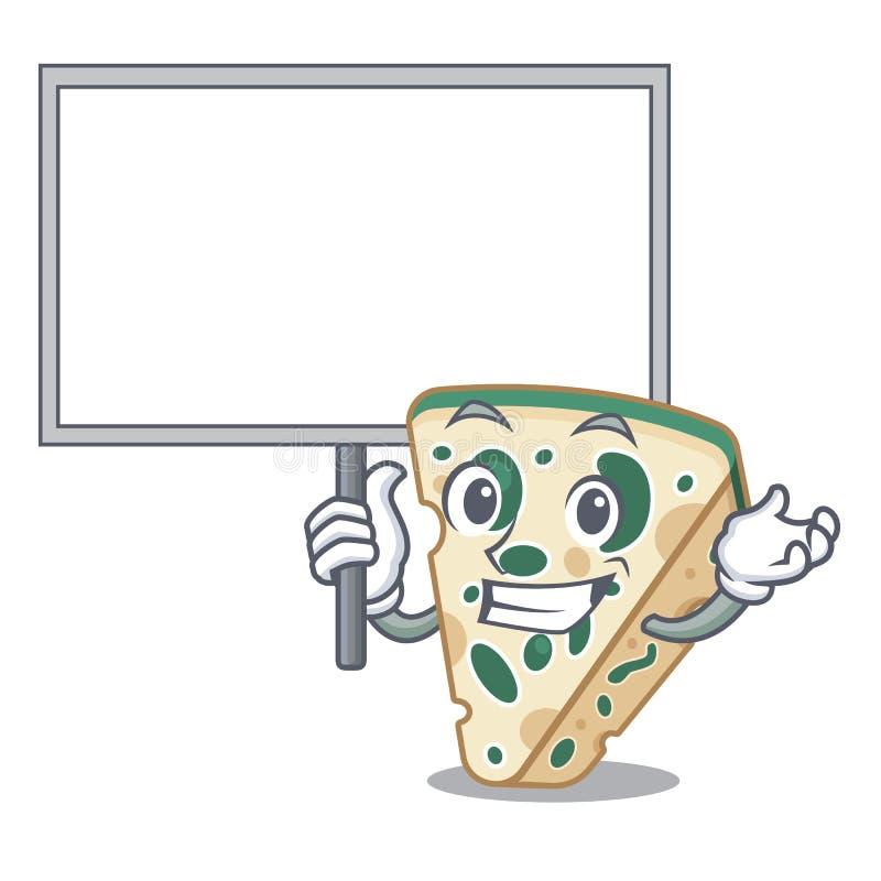 Traiga a tablero el queso verde en la forma de la historieta libre illustration