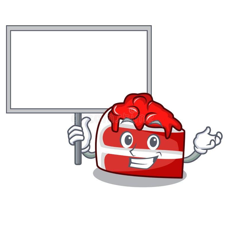 Traiga a tablero la historieta roja del carácter del terciopelo stock de ilustración