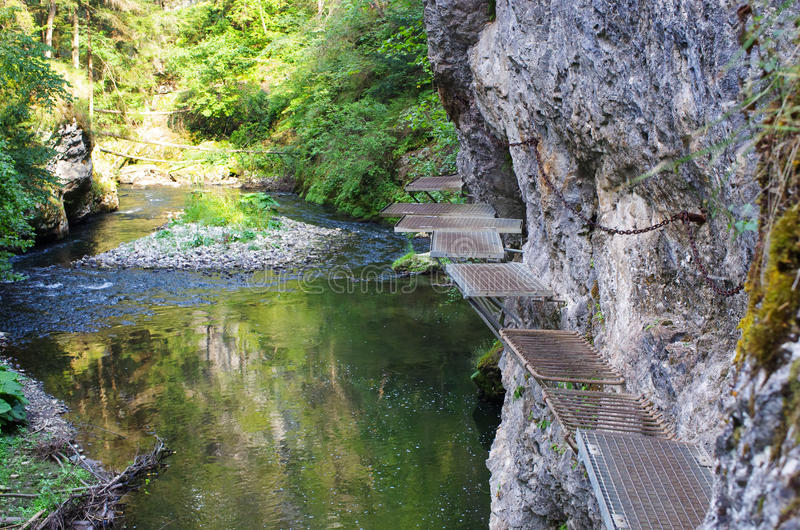 Trail along the Hornad river, Slovak Paradise stock images