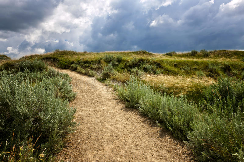 Trail in Badlands in Alberta, Canada. Walking trail in Badlands with dramatic sky in Dinosaur provincial park, Alberta, Canada stock photo