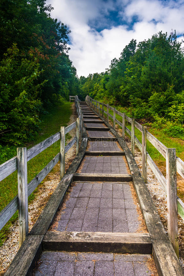 Trail at Bald Mountain Ridge scenic overlook along I-26 in Tennessee. royalty free stock photo