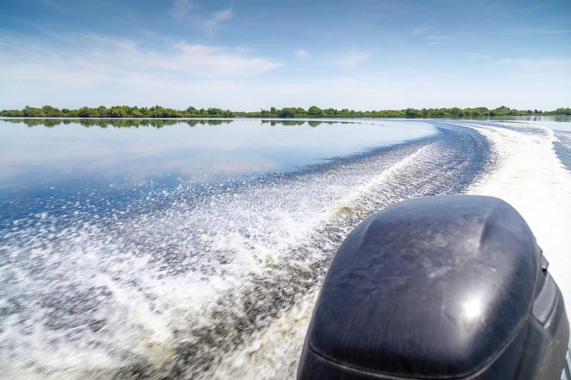 Trail of beautiful water from motor boat in Danube Delta, Romania royalty free stock photography