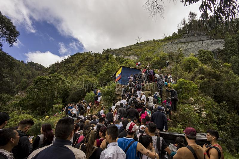 Crowds climbing there way up Monserrate royalty free stock images
