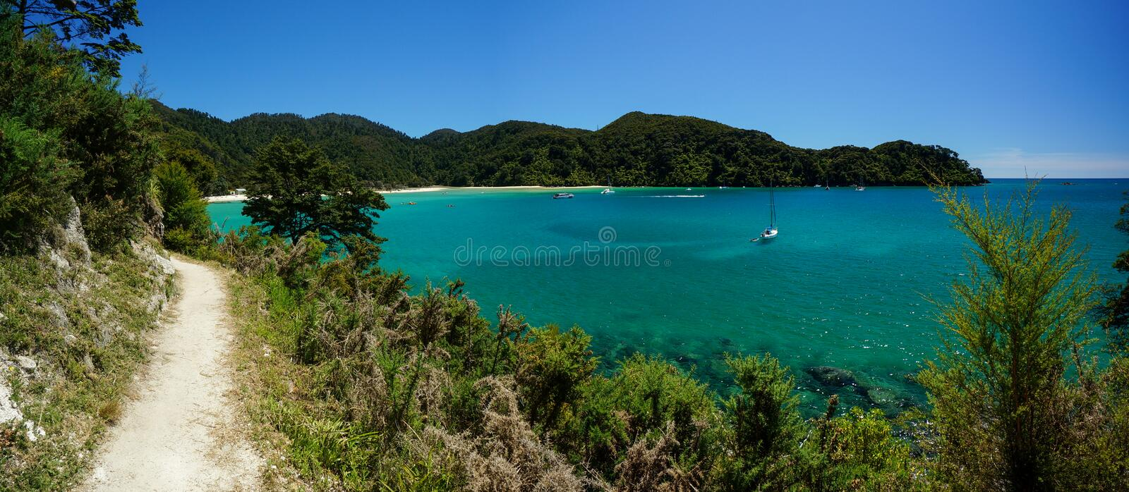 Trail at Abel Tasman National Park in New Zealand. Trail leading to Bark Bay, Abel Tasman National Park, New Zealand stock image