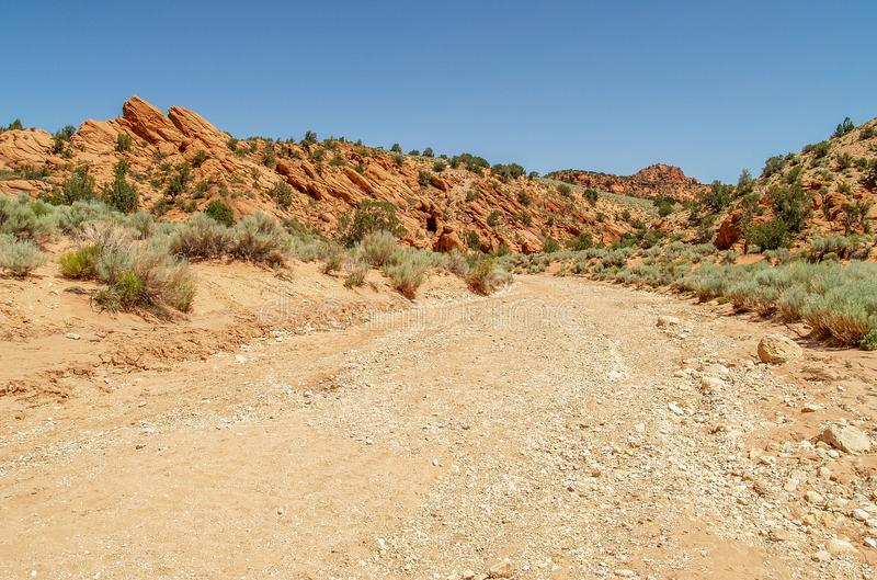 Rocky Trail to Wire Pass Slot Canyon stock images