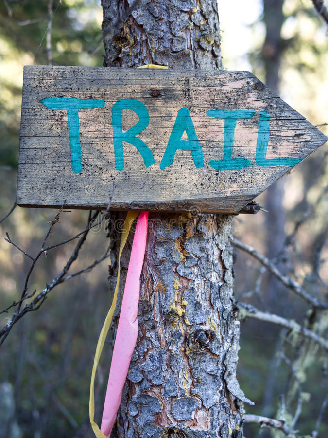Download Trail marker stock image. Image of hiking, sign, tree - 27034987