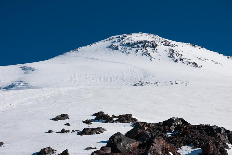 The trail on Mount Elbrus royalty free stock photography
