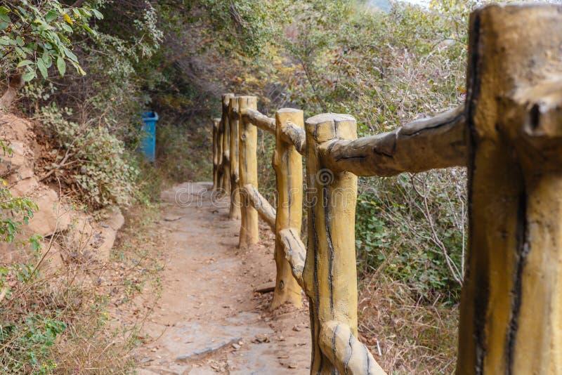 Mountain trail fence, Henan Province, China royalty free stock photo