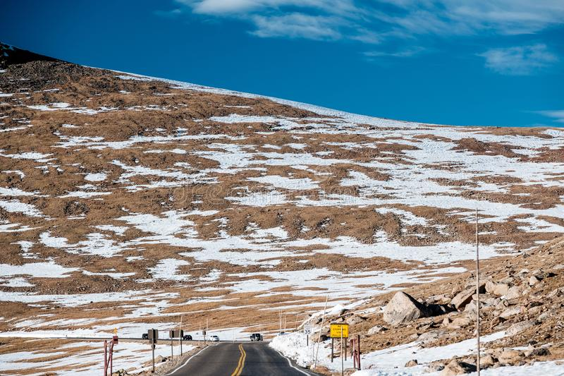 Highway in alpine tundra. Rocky Mountain National Park in Colorado. stock photos