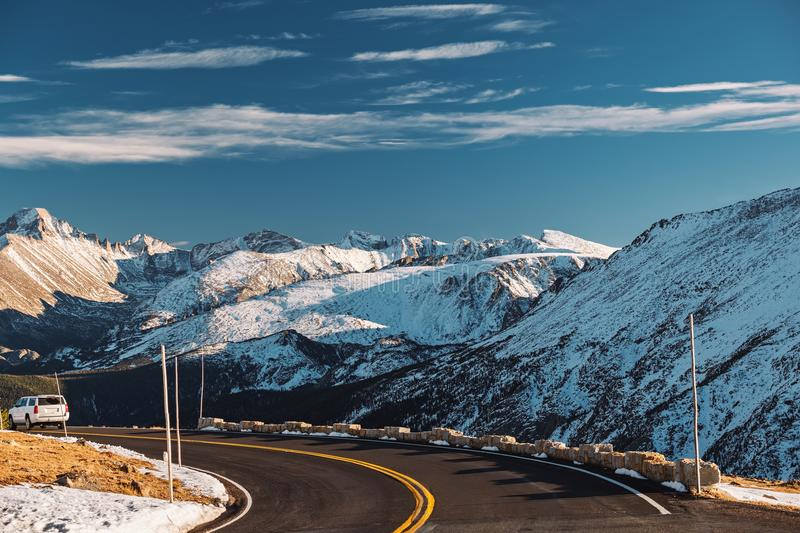 Highway in alpine tundra. Rocky Mountain National Park in Colorado. stock image