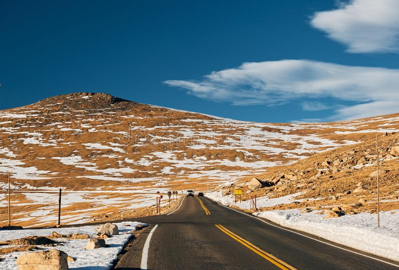 Highway in alpine tundra. Rocky Mountain National Park in Colorado. royalty free stock images