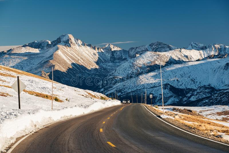 Highway in alpine tundra. Rocky Mountain National Park in Colorado. stock images