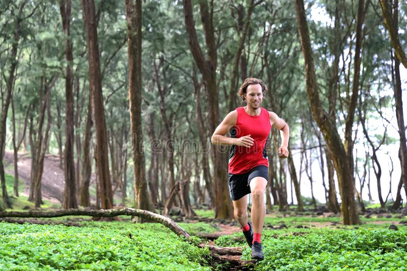 Trail runner man athlete running through forest nature on path sprinting jumping over wood. Sport sprinter active doing high stock photo