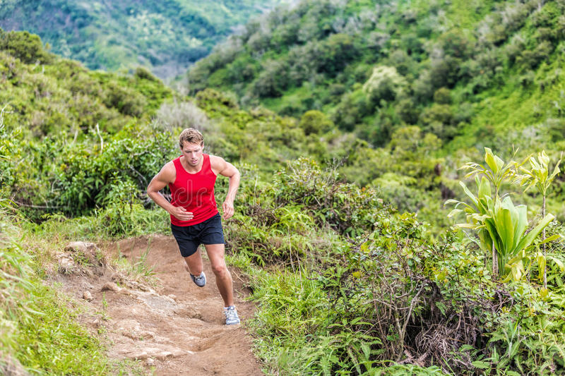 Trail runner running in mountain nature landscape stock photography