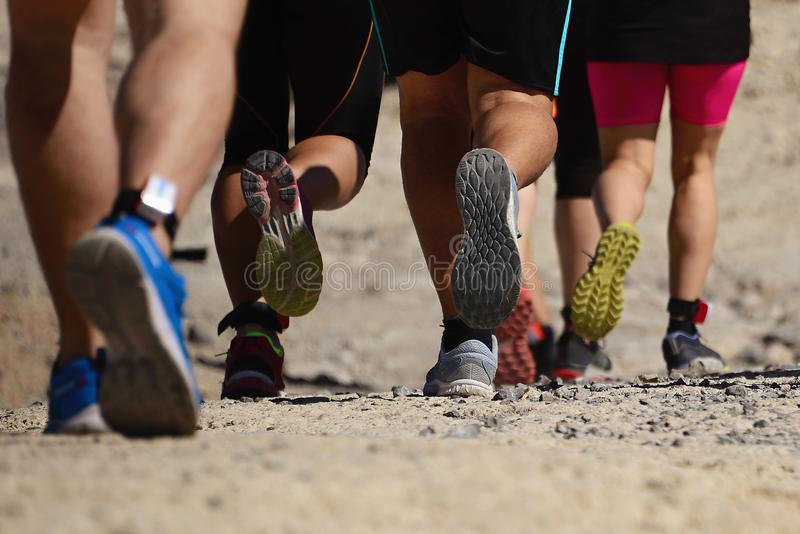 Trail running group on mountain path royalty free stock images