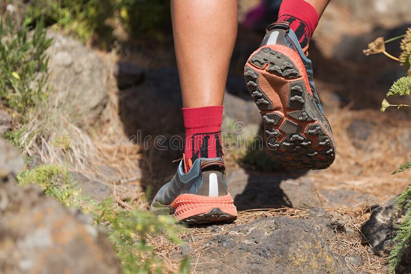 Trail running man royalty free stock images