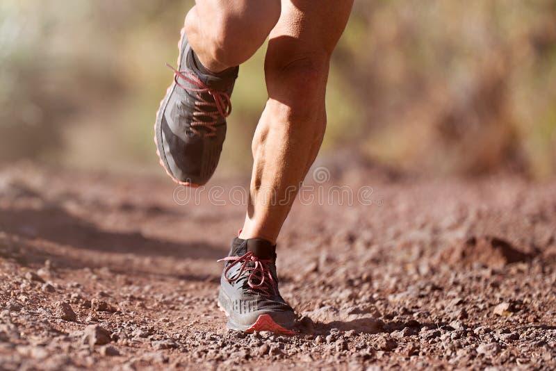 Trail running man stock image