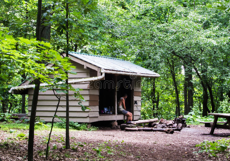 download trail shelter on the appalachian trail editorial image   image of backpack hammock  trail shelter on the appalachian trail editorial image   image of      rh   dreamstime