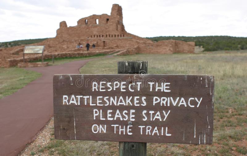 Trail Sign, Abo Pueblo, New Mexico royalty free stock photo