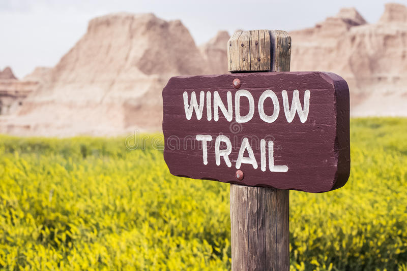 Window Trail Sign | Badlands National Park, South Dakota, USA royalty free stock photography
