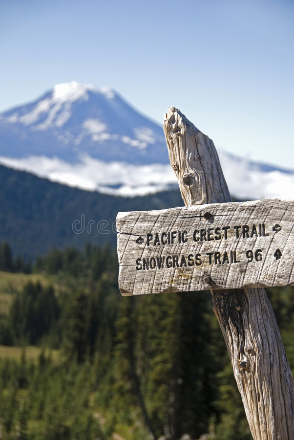 Trail sign, Pacific Crest Trail stock images