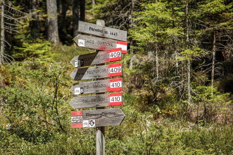 Trail signs in Cortina D`Ampezzo, Dolomites, Italy stock photos