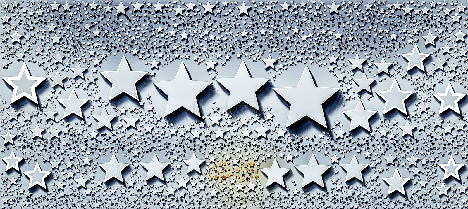 Trail of stars with different shapes and sizes royalty free illustration