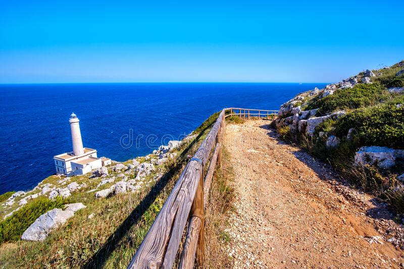 Trail to the lighthouse of Italy in Punta Palascia - Salento - Lecce province in Puglia royalty free stock image