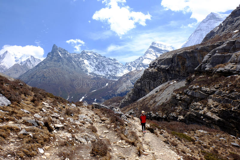 Trail to The Milk Lake at Yading Nature Reserved, China royalty free stock photo