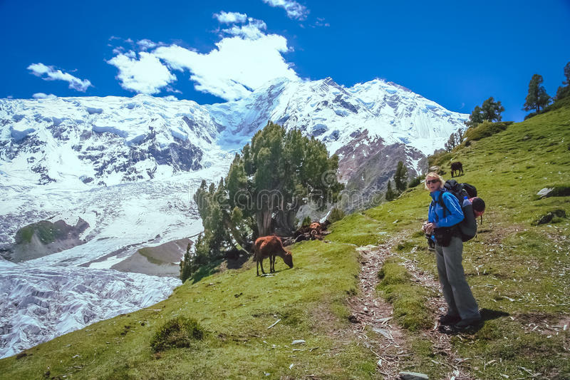 On the trail to Rakaposhi royalty free stock image